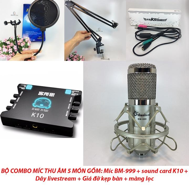 Bộ micro thu âm cao cấp BM999 + sound card K10 + dây livestream + Kẹp đỡ để bàn và màng lọc