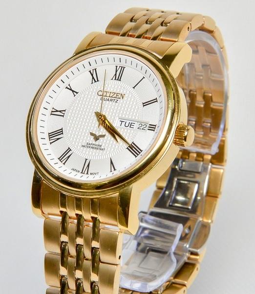 Đồng hồ Citizen nam Gold mặt trắng sang trọng CZ02