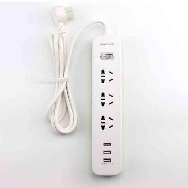 Ổ cắm điện đa năng Sendem H1 tích hợp 3 cổng sạc USB