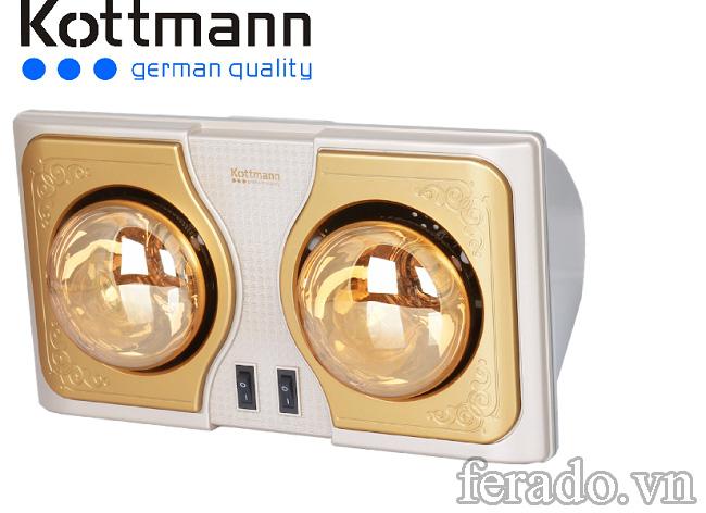 Đèn sưởi Kottmann K2B-G treo tường 2 bóng
