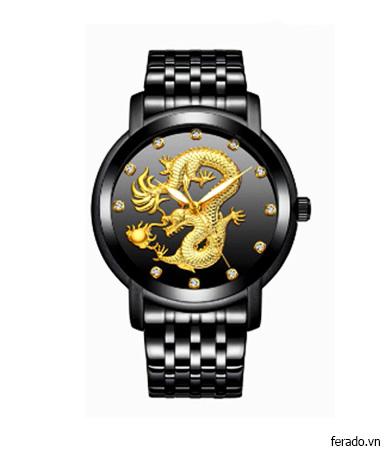 Đồng Hồ Nam Rồng Vàng dây đen