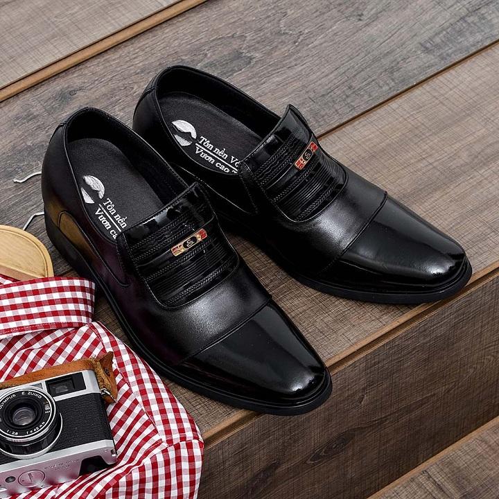 Giày tăng chiều cao nam da bò thật TC01